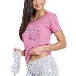 Dámské pyžamo Matylda růžové s kočičkami