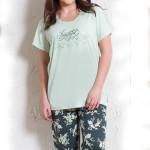 Dámské pyžamo pro plnoštihlé Karin zelené
