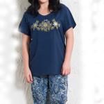 Dámské pyžamo pro plnoštihlé Katka tmavě modré