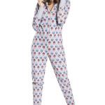 Dámský pyžamový overal Sovička šedý