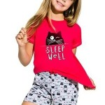 Dívčí bavlněné pyžamo s kočkou Hanička malinové