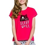 Dívčí bavlněné pyžamo s kočkou Kira červené