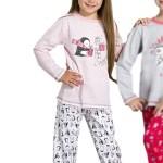 Dívčí  pyžamo Oda růžové s tučňákem