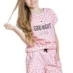 Dívčí pyžamo Rozárka lososové krátké