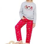 Dívčí pyžamo Sofinka šedočervené s tučňáky