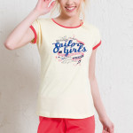 Krátké dámské pyžamo Julie žluto růžové