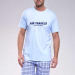 Krátké pánské pyžamo Tobiáš světle modré