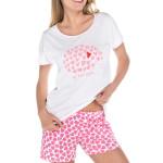 Krátké pyžamo Amor s růžovými srdíčky