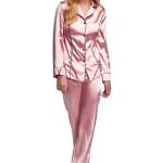 Luxusní saténové pyžamo Hayley lososové