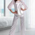 Luxusní saténové pyžamo Melly růžové