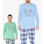 Pánské pyžamo dlouhé Medvěd a Buvol