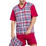 Pánské pyžamo Roman bordó krátké