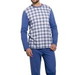 Pánské pyžamo Roman VI káro šedé nadměrná velikost