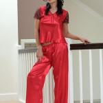 Saténové pyžamo Ewa červené